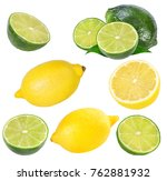fresh lemon and  lime  isolated ... | Shutterstock . vector #762881932