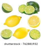 fresh lemon and  lime  isolated ...   Shutterstock . vector #762881932