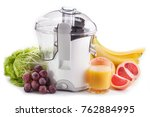 juicer machine with fruits and...   Shutterstock . vector #762884995