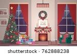 christmas interior of the... | Shutterstock .eps vector #762888238
