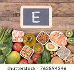 food rich in vitamine e | Shutterstock . vector #762894346