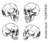 a set of skulls in the style of ... | Shutterstock .eps vector #762895945
