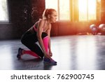blonde girl ready to start the... | Shutterstock . vector #762900745