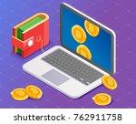 bitcoin mining. laptop...   Shutterstock .eps vector #762911758