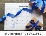 gift boxes and calendar list on ... | Shutterstock . vector #762911962