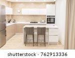 modern kitchen interior in...   Shutterstock . vector #762913336