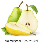 isolated pears. cut green and... | Shutterstock . vector #76291384