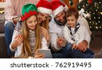 cheerful family spending... | Shutterstock . vector #762919495