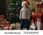 little girl at home in a... | Shutterstock . vector #762930955