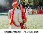 indian groom dressed in white...   Shutterstock . vector #762931105
