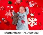 christmas newborn baby boy | Shutterstock . vector #762935902