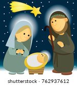 nativity scene with holy family | Shutterstock .eps vector #762937612