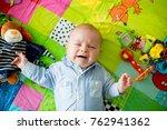three months old baby boy ... | Shutterstock . vector #762941362