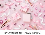 flat lay holiday background... | Shutterstock . vector #762943492