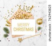 blank card with golden... | Shutterstock . vector #762943825