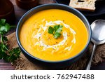 pumpkin and carrot soup with... | Shutterstock . vector #762947488