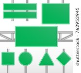 green road signs. realistic... | Shutterstock .eps vector #762952945