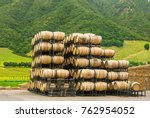 wine barrels in the winery....