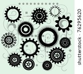 gears with funky circuit board... | Shutterstock .eps vector #76295620