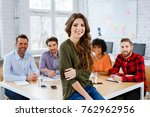 group of happy students in... | Shutterstock . vector #762962956