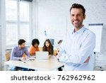 portrait of happy teacher... | Shutterstock . vector #762962962