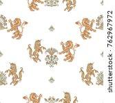 seamless pattern with heraldic... | Shutterstock .eps vector #762967972