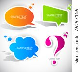 colorful paper bubble for speech | Shutterstock .eps vector #76297156