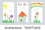 wax crayon like child s hand... | Shutterstock .eps vector #762971602