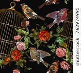 embroidery birds and birds cage ... | Shutterstock .eps vector #762974995