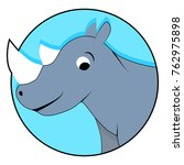 rhinoceros icon flat. sticker...