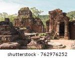 my son ancient ruins in vietnam ... | Shutterstock . vector #762976252