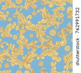 ... Victorian Baroque floral ornament decorative . Seamless wallpaper pattern. Hand drawn engraving.