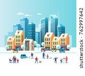 snowy street. urban winter... | Shutterstock .eps vector #762997642