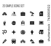 set of 20 editable school icons.... | Shutterstock .eps vector #763003522