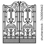 metal gate with forged... | Shutterstock .eps vector #763004662