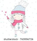 .cute girl girl vector girl... | Shutterstock .eps vector #763006726