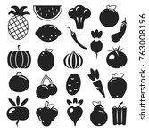 set black silhouette various... | Shutterstock .eps vector #763008196