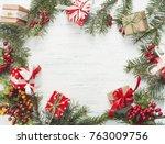 christmas gift  knitted blanket ... | Shutterstock . vector #763009756