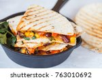 vegetarian quesadilla with... | Shutterstock . vector #763010692