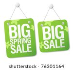 Big spring sale signs set. - stock vector