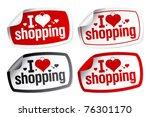 i love shopping stickers set. | Shutterstock .eps vector #76301170