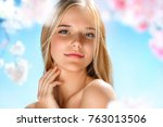 beautiful girl with perfect... | Shutterstock . vector #763013506