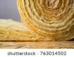 roll of mineral wool lying on... | Shutterstock . vector #763014502