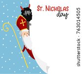 saint nicholas with devil and... | Shutterstock .eps vector #763014505
