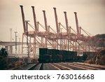 seattle  wa   aug 14  crane... | Shutterstock . vector #763016668