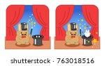 magician bunny performs magic...   Shutterstock .eps vector #763018516