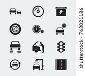 set of 12 editable transport... | Shutterstock .eps vector #763021186