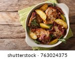 baked pork fillet with green... | Shutterstock . vector #763024375
