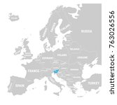 slovenia marked by blue in grey ... | Shutterstock .eps vector #763026556