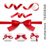 set of red ribbons on white... | Shutterstock .eps vector #763028368